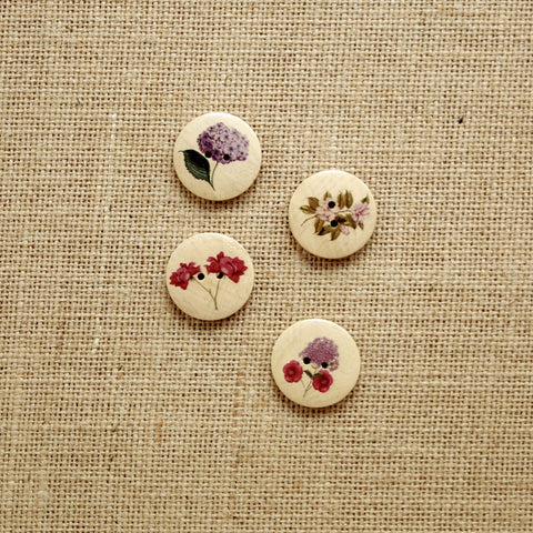 Large Wooden Buttons:  Florals