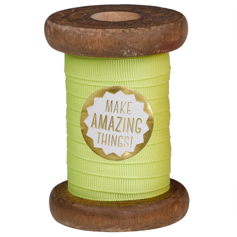 Pineapple Neon Ribbon on Wooden Spool