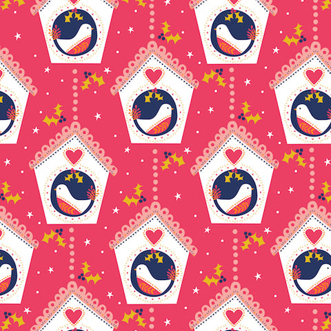 Festive Friends Red Birds Fabric