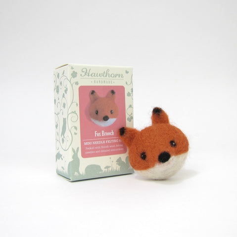 Fox Brooch, Needle Felting Kit