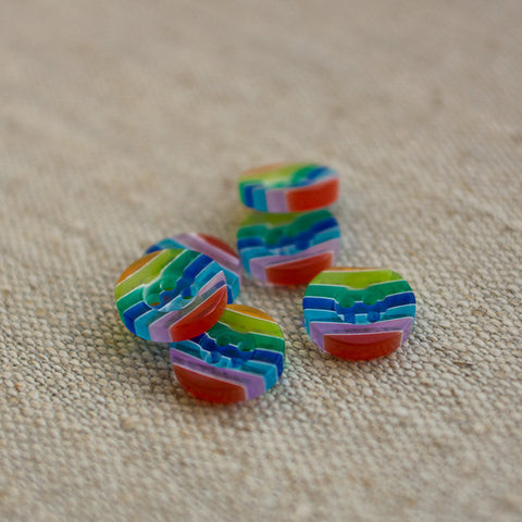 Button: Rainbow Stripe