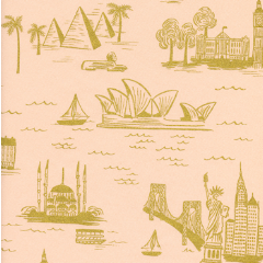 city toile peach rifle paper fabric