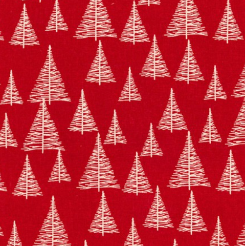 Christmas Fabric: Christmas Trees Red