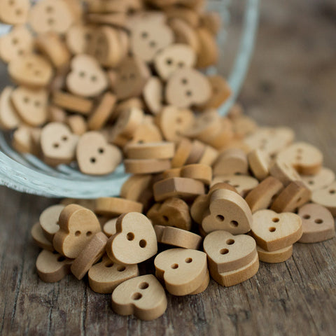 Button: Wooden Hearts (various sizes)
