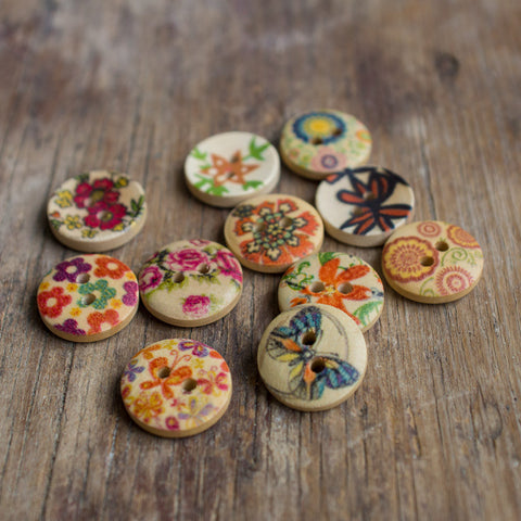 Small Printed Wooden Buttons (Various designs)