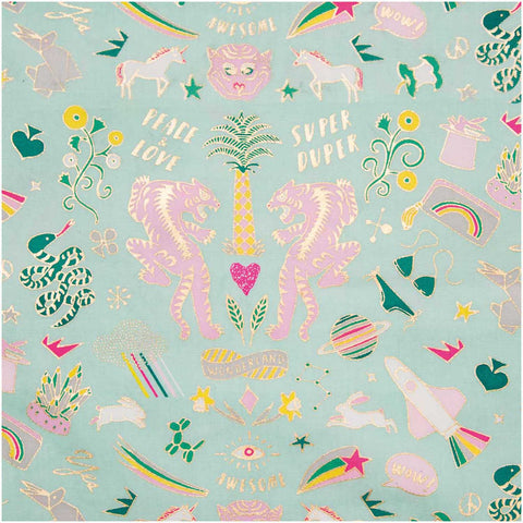 Super Duper Tiger Fabric Mint (PVC Coated)