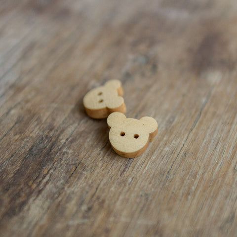 Button: Wooden Teddy Face