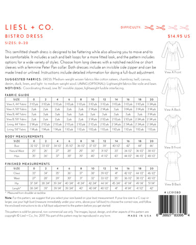 Bistro Dress Pattern: Liesl & Co