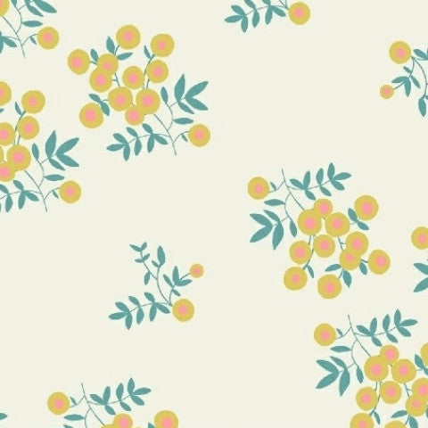 Maribel Fabric by Windham- Yellow berries on white