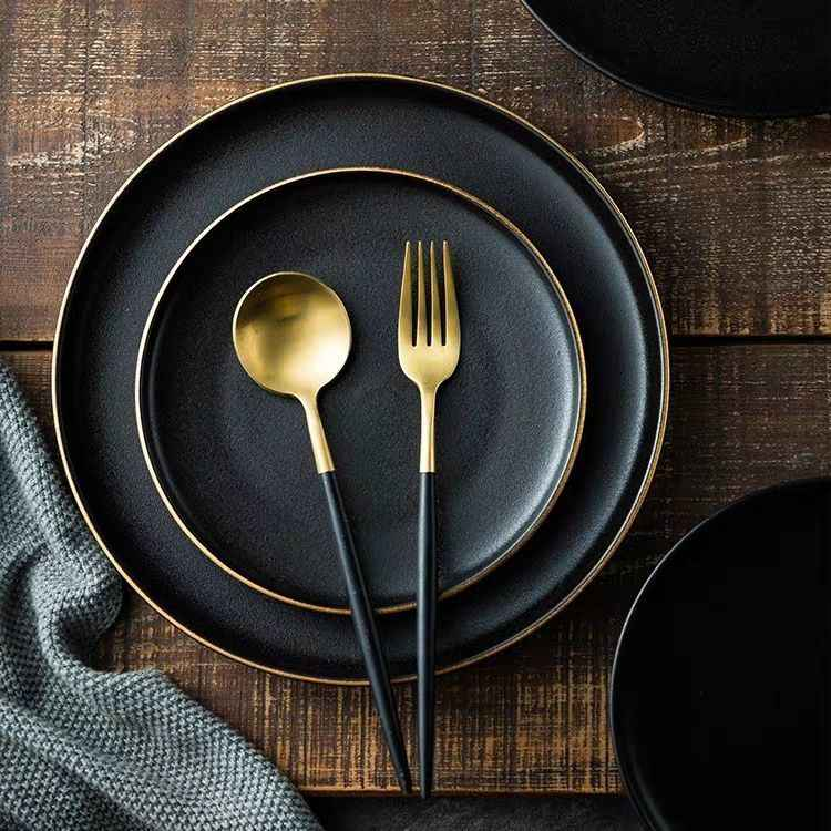 Phnom Penh Ceramic Plate Western Steak Plate Dishes and plates sets Black matte scratch-resistant pendulum Fruit plate disc