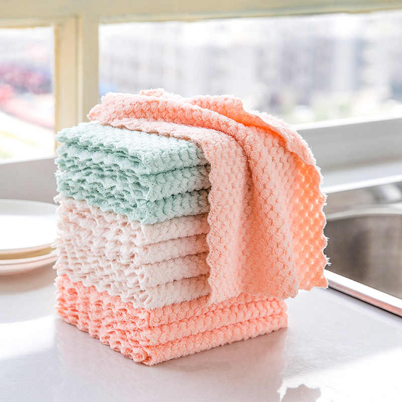 4Pcs/set Soft Polyester kitchen dish Cloth High-efficiency tableware Household Cleaning Towel kichen tools gadgets cosina