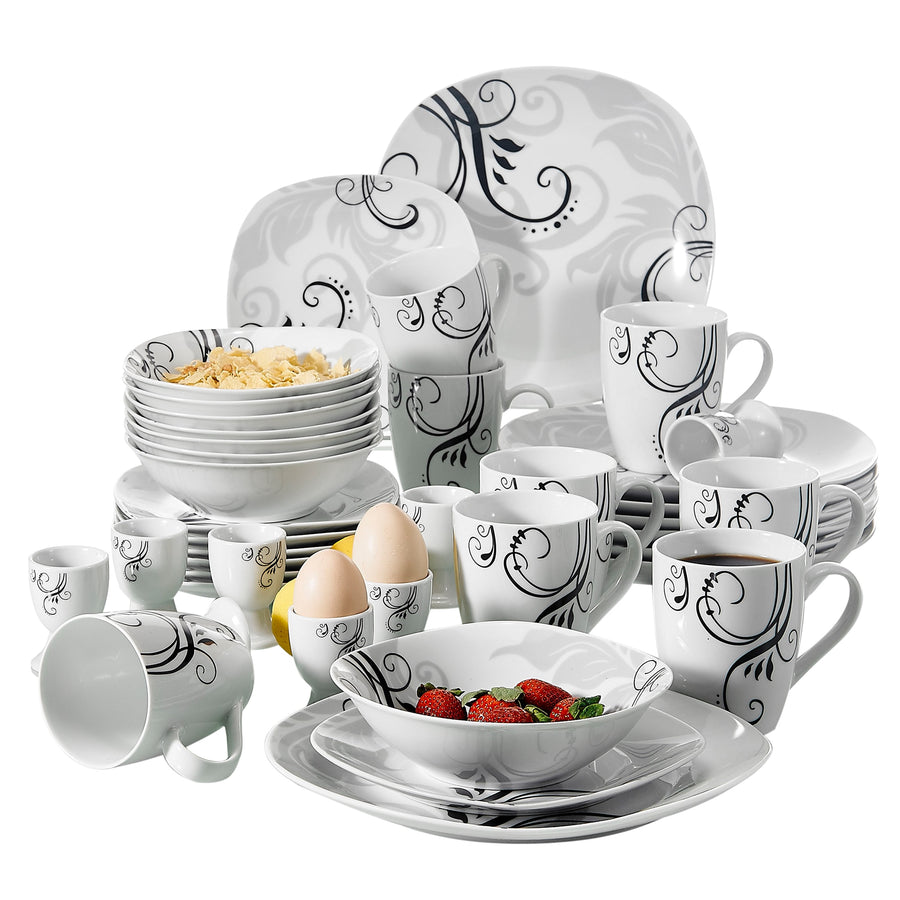 VEWEET ZOEY 40-Piece Porcelain Tableware Set Decal Pattern Dinnerware Sets with Dinner Plate,Dessert Plate,Bowl,Mug,Egg Cup