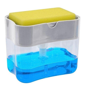 2-in-1 Sponge Box With Soap Dispenser Double Layer Kitchen Plastic Soap Dispenser Sponge Scrubber Holder Case Boite Rangement