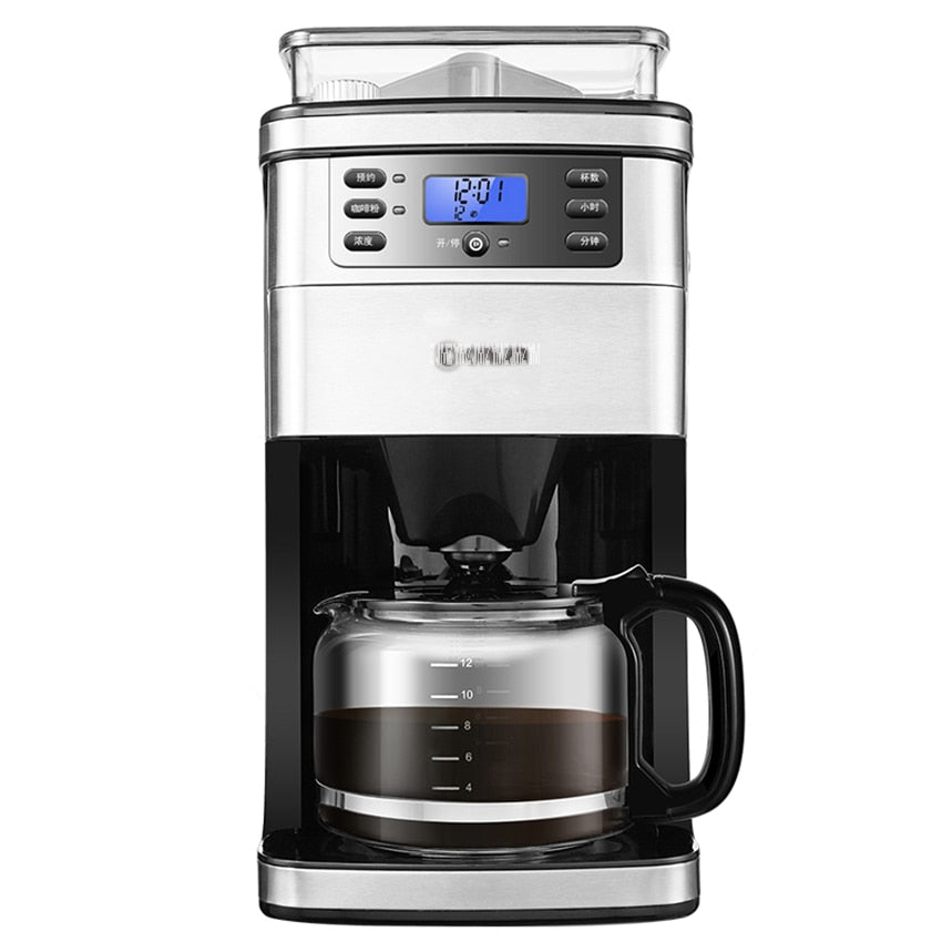 1.5L Full Automatic American Coffee Maker Machine Coffee Bean Grinder Drip Type Cafe Americano Machine DL-KF4266 900W 220V