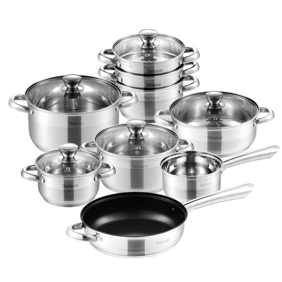 Velaze Cookware Set Stainless Steel 14-Piece Induction Kitchen Cooking Pot&Pan Set,Saucepan,Casserole,Steamer,Frypan,Glass lid