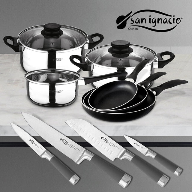 Sets SAN ignacio to choose with Kitchen batteries and knives in stainless steel, sauce pans in aluminum Masterpro