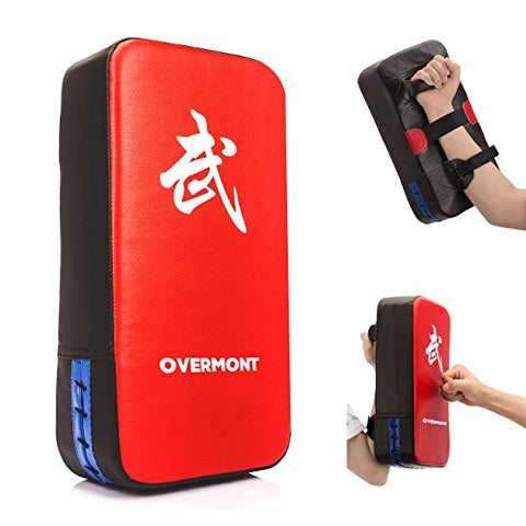 Overmont Taekwondo Kick Pads Boxing Karate Shield PU Leather Muay Thai MMA Kickboxing