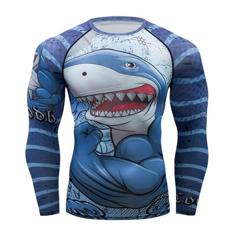 Brand New Men's Long Sleeve 3D Shark Compression Shirt Rashguard