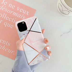 Pink & Gold Geometric iPhone Case