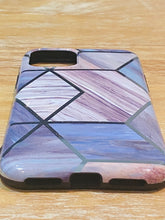 Load image into Gallery viewer, Dark Blue & Grey Geometric iPhone Case