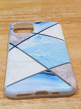 Load image into Gallery viewer, Blue & Silver Geometric iPhone Case