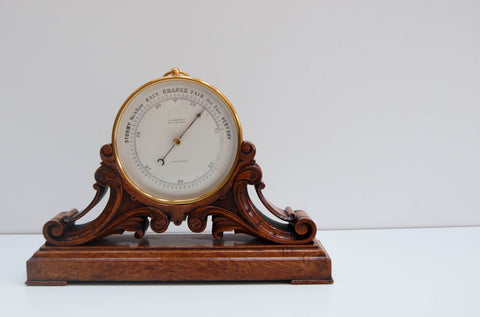 Victorian Aneroid Barometer on Stand by JS Marratt of London
