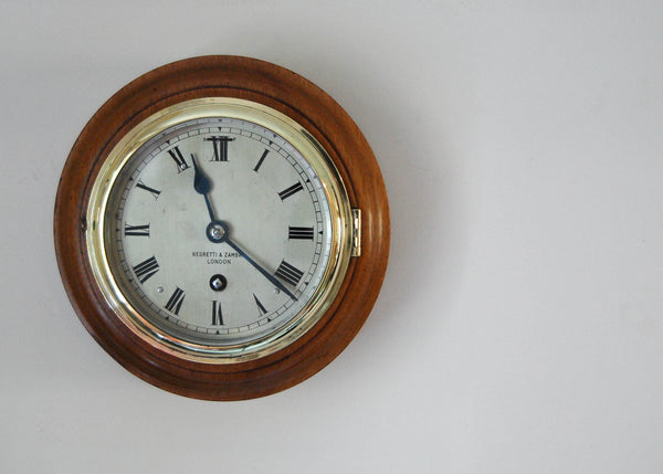 Rare Art Deco Period Mahogany Cased Five Inch Dial Clock by Negretti & Zambra