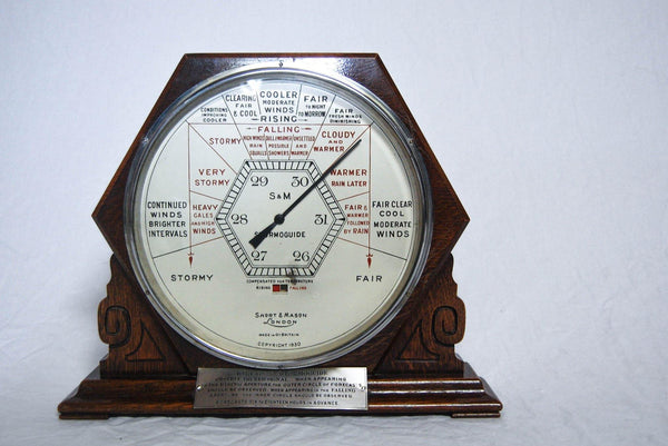 Art Deco Period Shop Display Aneroid 'Stormoguide' Barometer by Short & Mason London