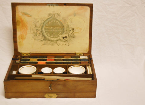 Victorian Rudolph Ackermann Mahogany and Brass Artist's Box with Original Watercolours and Contents