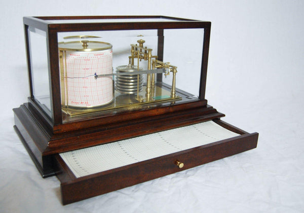 Early Twentieth Century Barograph with Mahogany & Glass Case by O. Comitti & Son, London