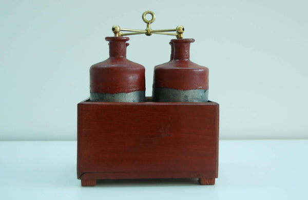Early Nineteenth Century Battery of Four Leyden Jars in Original Pine Case