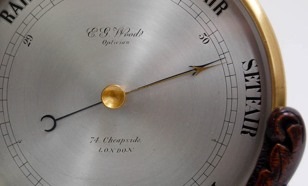 Bourdon & Richard Aneroid Barometer on Stand Retailed by EG Wood, 74 Cheapside, London