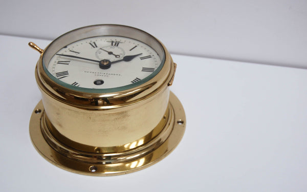 Late Victorian Brass Cased Ship's Clock by Negretti & Zambra, London