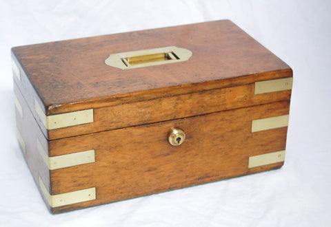 Oak and Brass Two Sectioned Military Campaign Box with Original Bramah Lock & Key