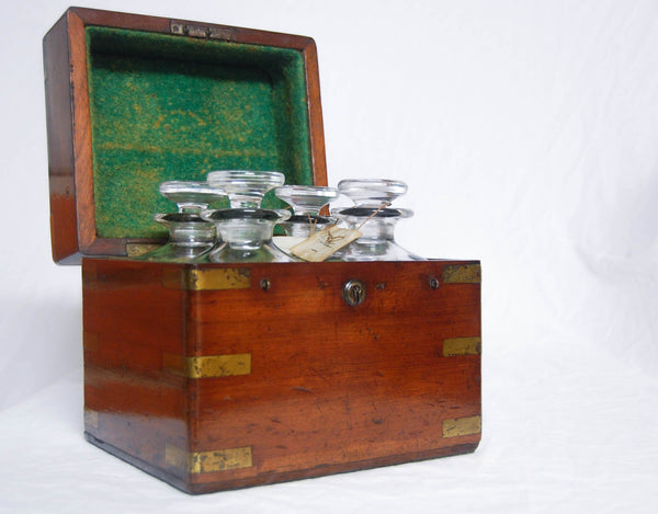 Late Victorian Mahogany & Brass Campaign Decanter Set - Naval Provenance to the Second Boer War