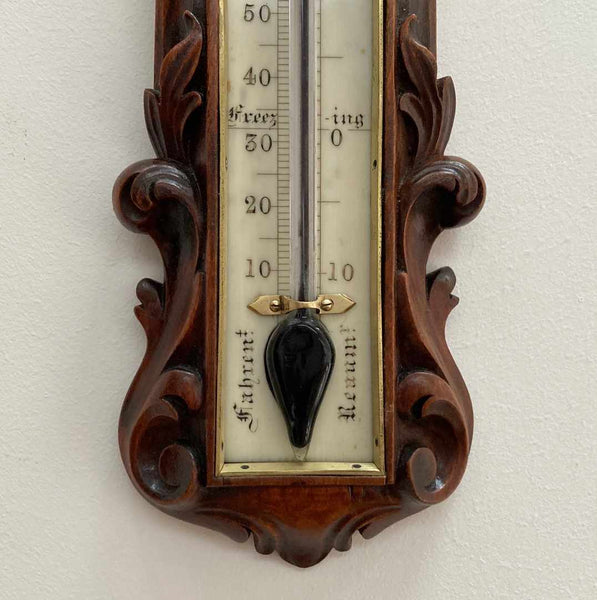 Victorian Carved Walnut Wall Thermometer by William Dixey of 241 Oxford Street London