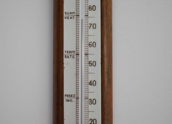 Victorian Oak & Ceramic Scale Wall Thermometer by Negretti & Zambra London