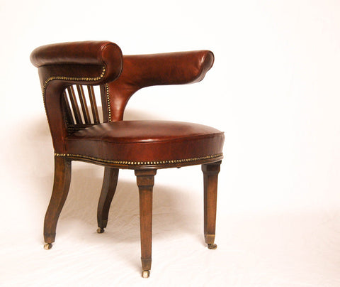 Regency Library Chair or Cock Fighting Chair in Burgundy Leather & Square Cup Castors