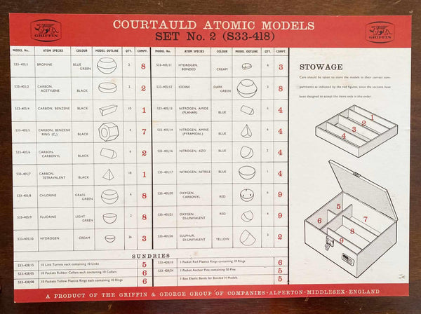 Cased Courtauld Atomic Model Set by Griffin & George