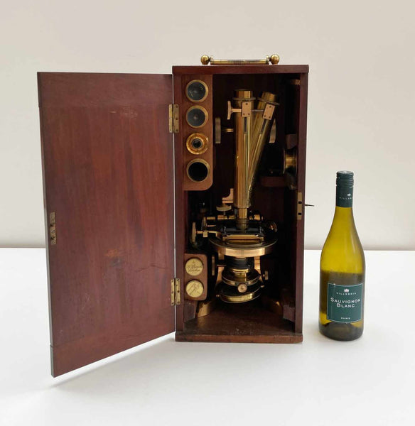 Rare Victorian Cased Premiere Model Binocular Microscope by Henry Crouch London