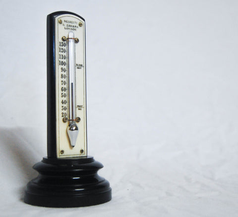 Victorian Ebony & Bone Desk Thermometer by Negretti & Zambra