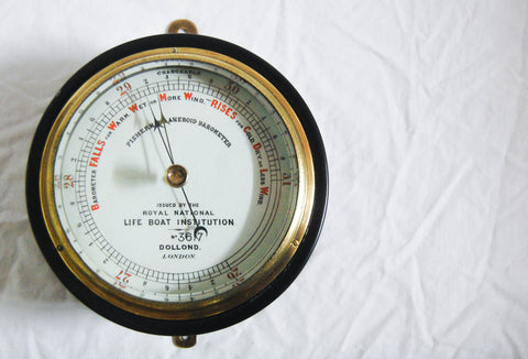 Late Victorian Fisherman's Aneroid Barometer by Dollond of London & Issued by the Royal National Lifeboat Institution (RNLI)