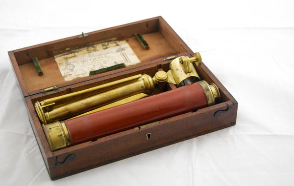 A Regency Period Brass Desk-Top Three Drawer Telescope by Dollond with Original Box & Stand