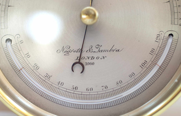 Victorian Brass Cased Aneroid Barometer by Negretti & Zambra London
