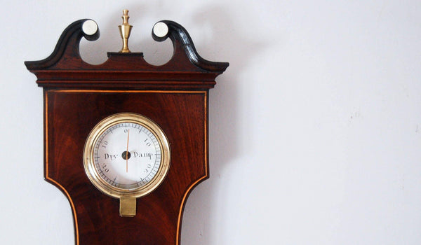 Early Nineteenth Century Ten Inch Dial Mahogany & Satinwood 'Banjo' Wheel Barometer by George Bateman London