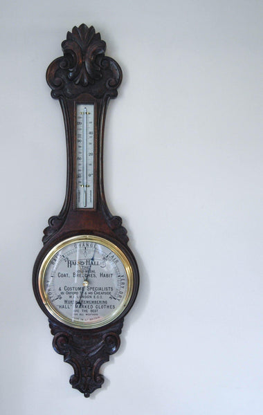 Art Deco Period Carved Oak Aneroid Wheel Barometer with Dial Advertisement for Harry Hall, London
