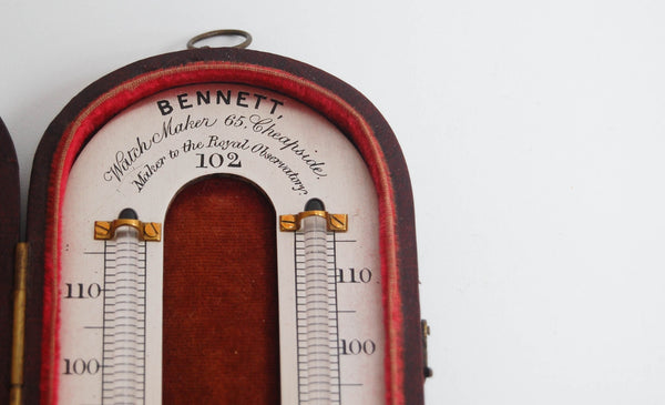 Early Victorian Mason's Hygrometer or Wet & Dry Thermometer by Bennett of 65 Cheapside London