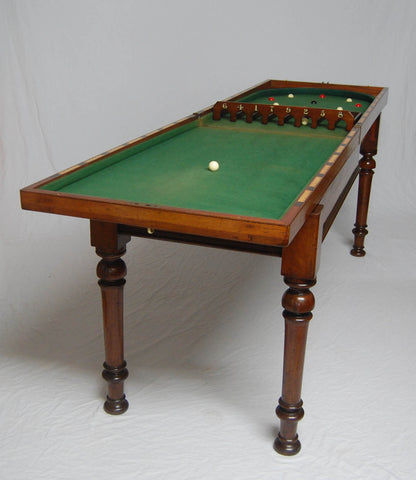 Early Victorian Mahogany Folding Bagatelle Table with Original Sliding Table Base