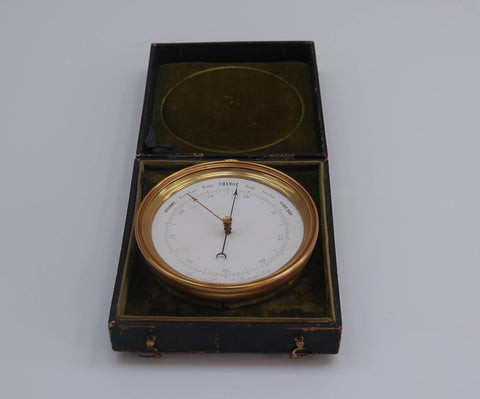 Mid Victorian Vidi Aneroid Barometer in Original Leather Presentation Case