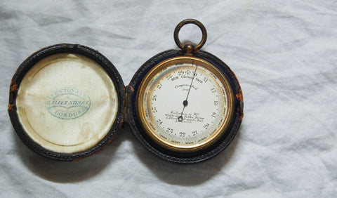 Edwardian Pocket Barometer & Altimeter with Original Case by Newton & Co, Fleet St, London